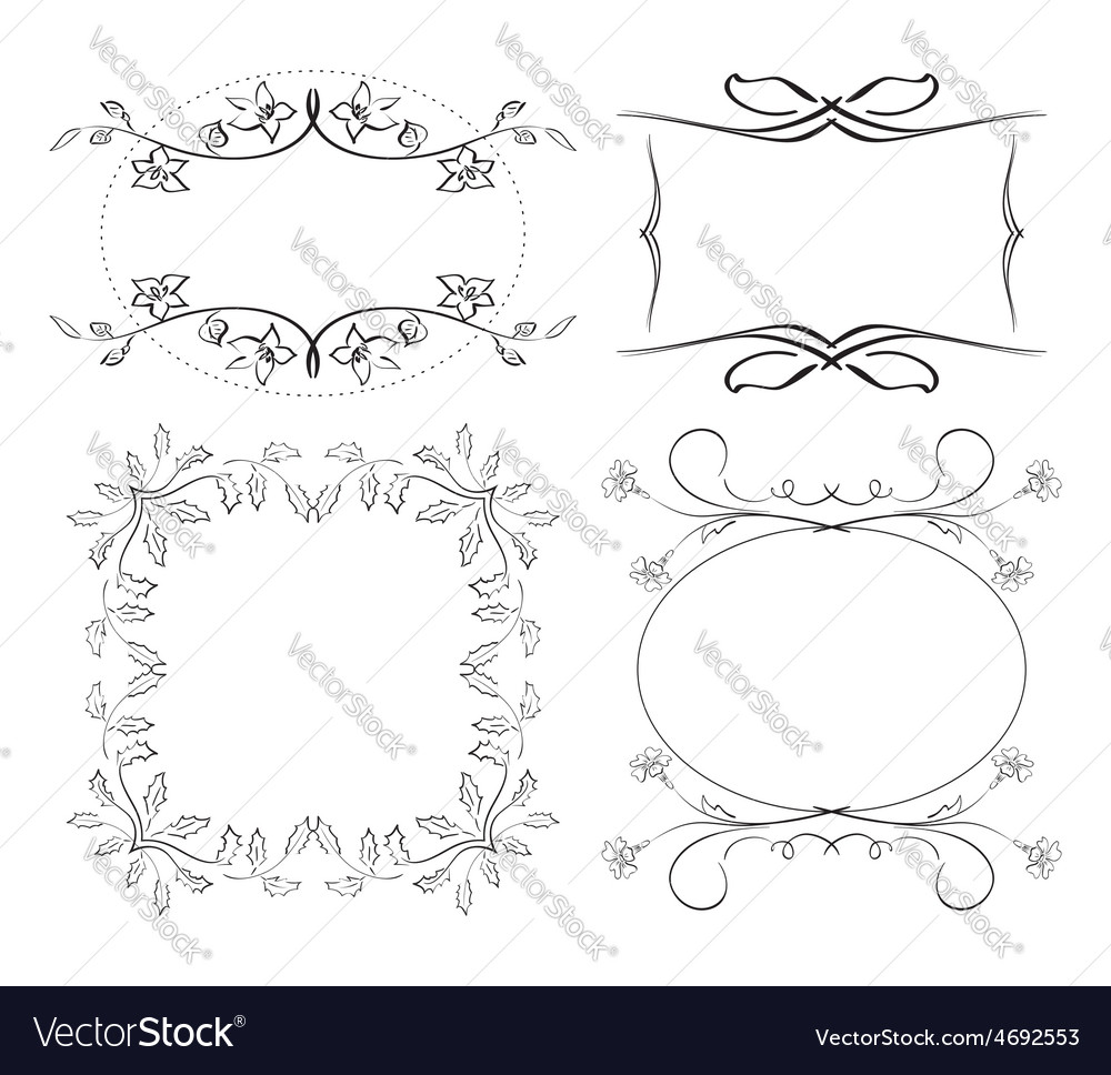 Set of floral decorative frames vector | Price: 1 Credit (USD $1)