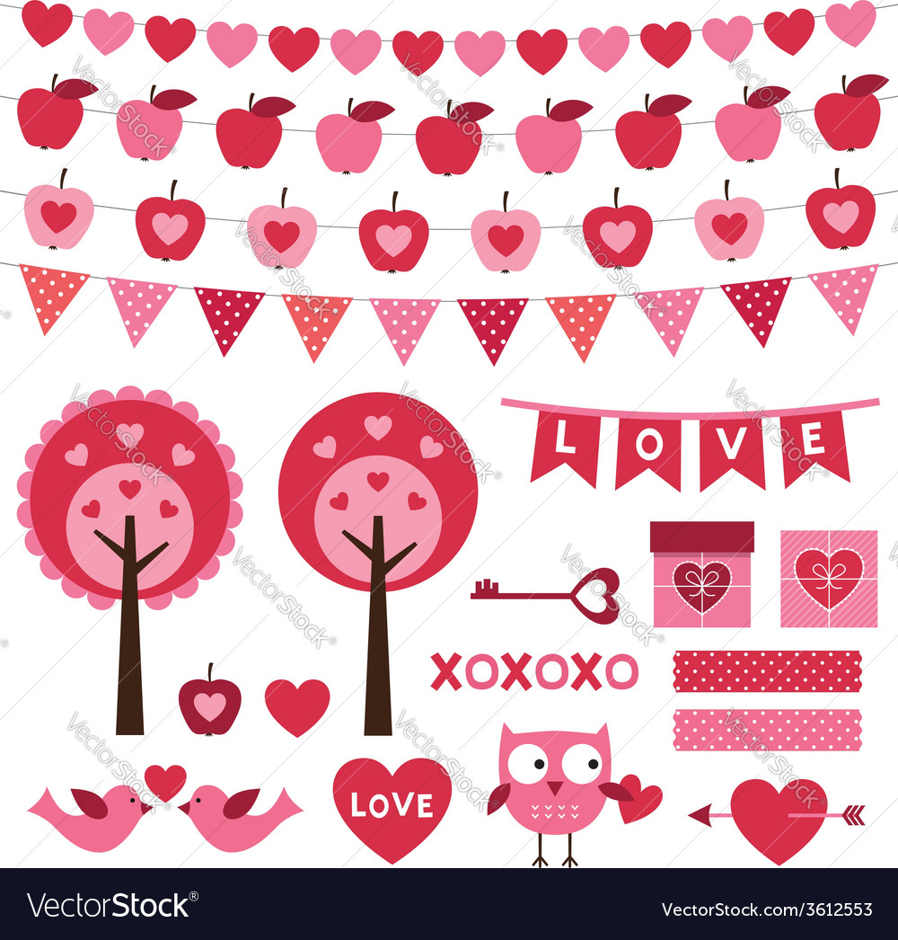 Valentines day design elements set vector   Price: 1 Credit (USD $1)