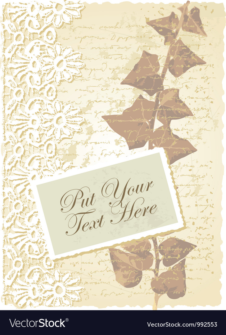 Vintage floral ivy card vector | Price: 1 Credit (USD $1)