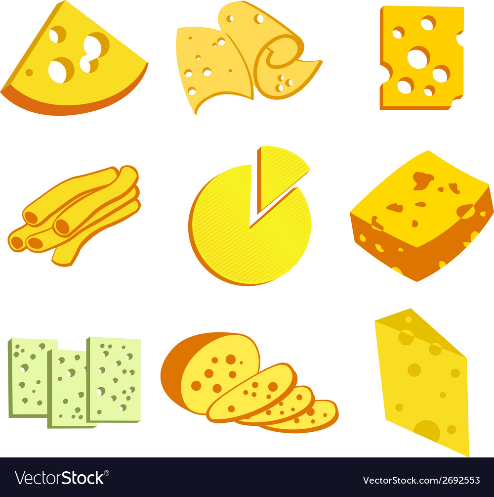 Whole cheese icons vector | Price: 1 Credit (USD $1)