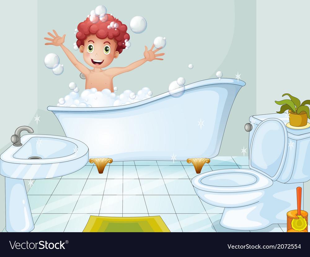 A cute boy taking a bath vector | Price: 1 Credit (USD $1)