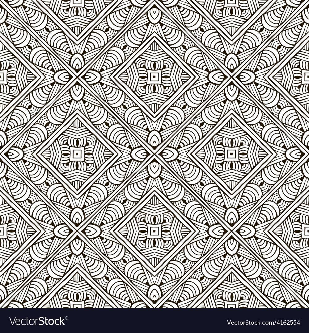 Abstract hand-drawn monochrome seamless pattern vector