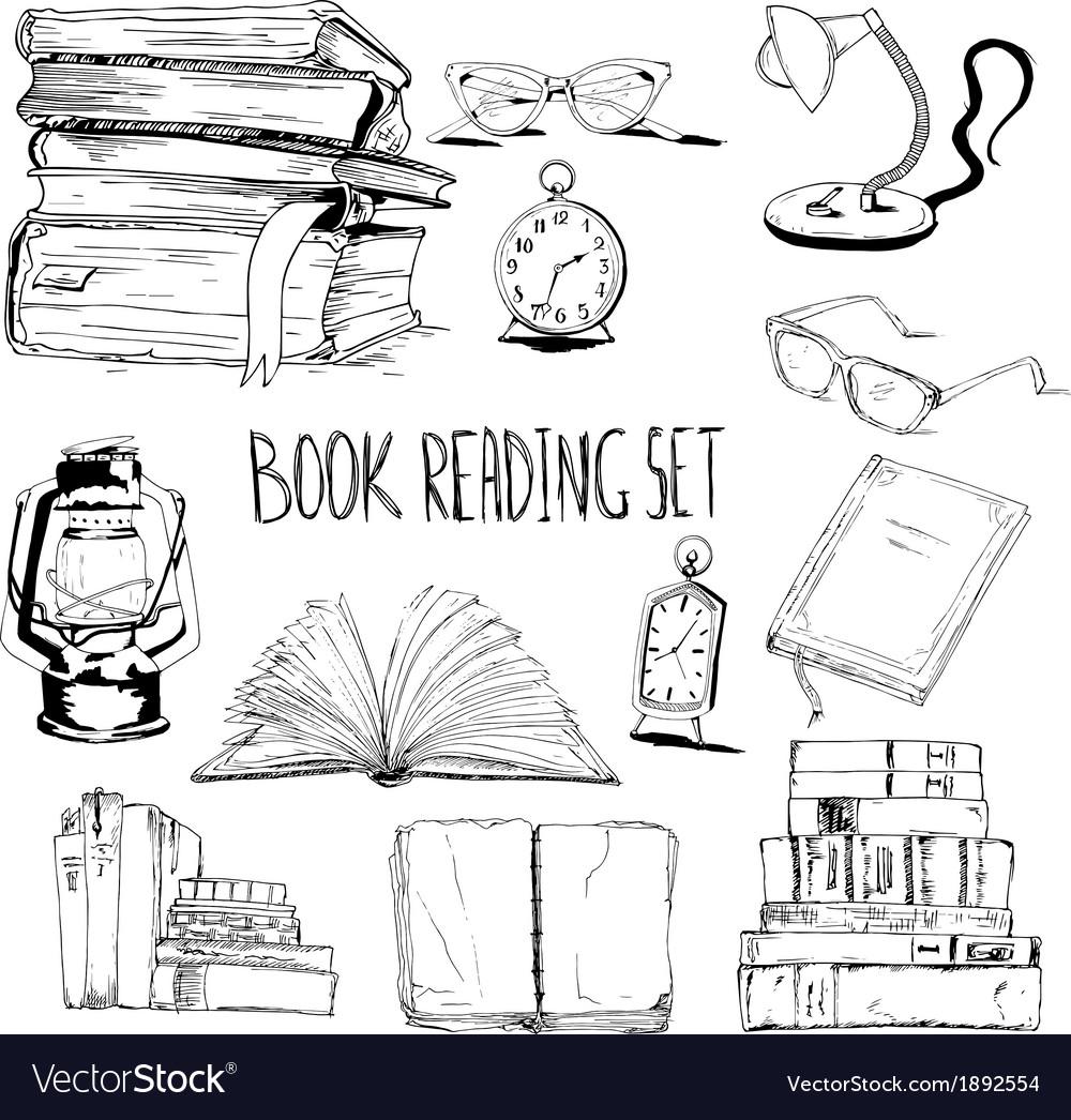 Books reading set vector | Price: 1 Credit (USD $1)