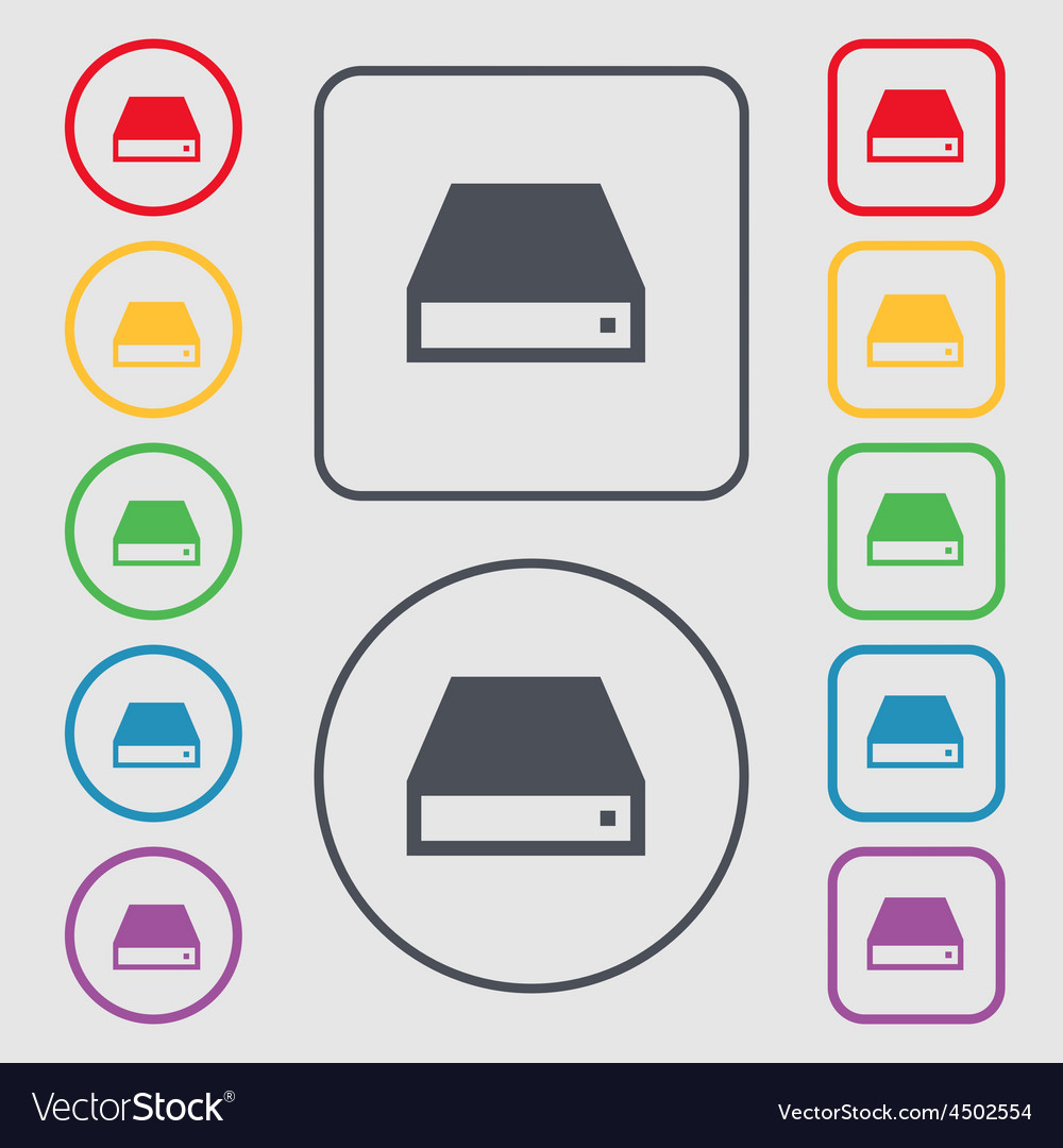 Cd-rom icon sign symbol on the round and square vector | Price: 1 Credit (USD $1)