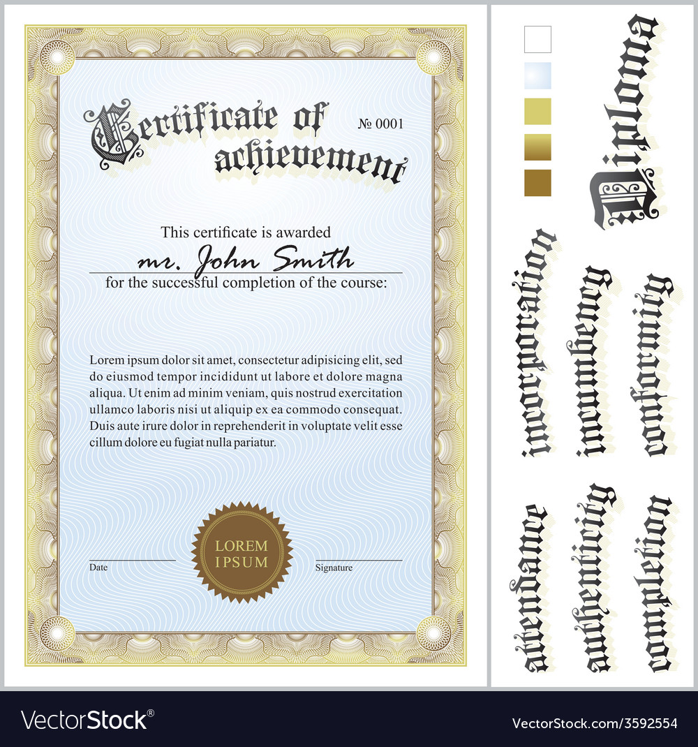 Gold certificate template vertical additional vector | Price: 1 Credit (USD $1)