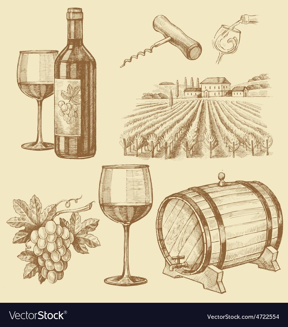 Hand drawn of wine vector   Price: 1 Credit (USD $1)