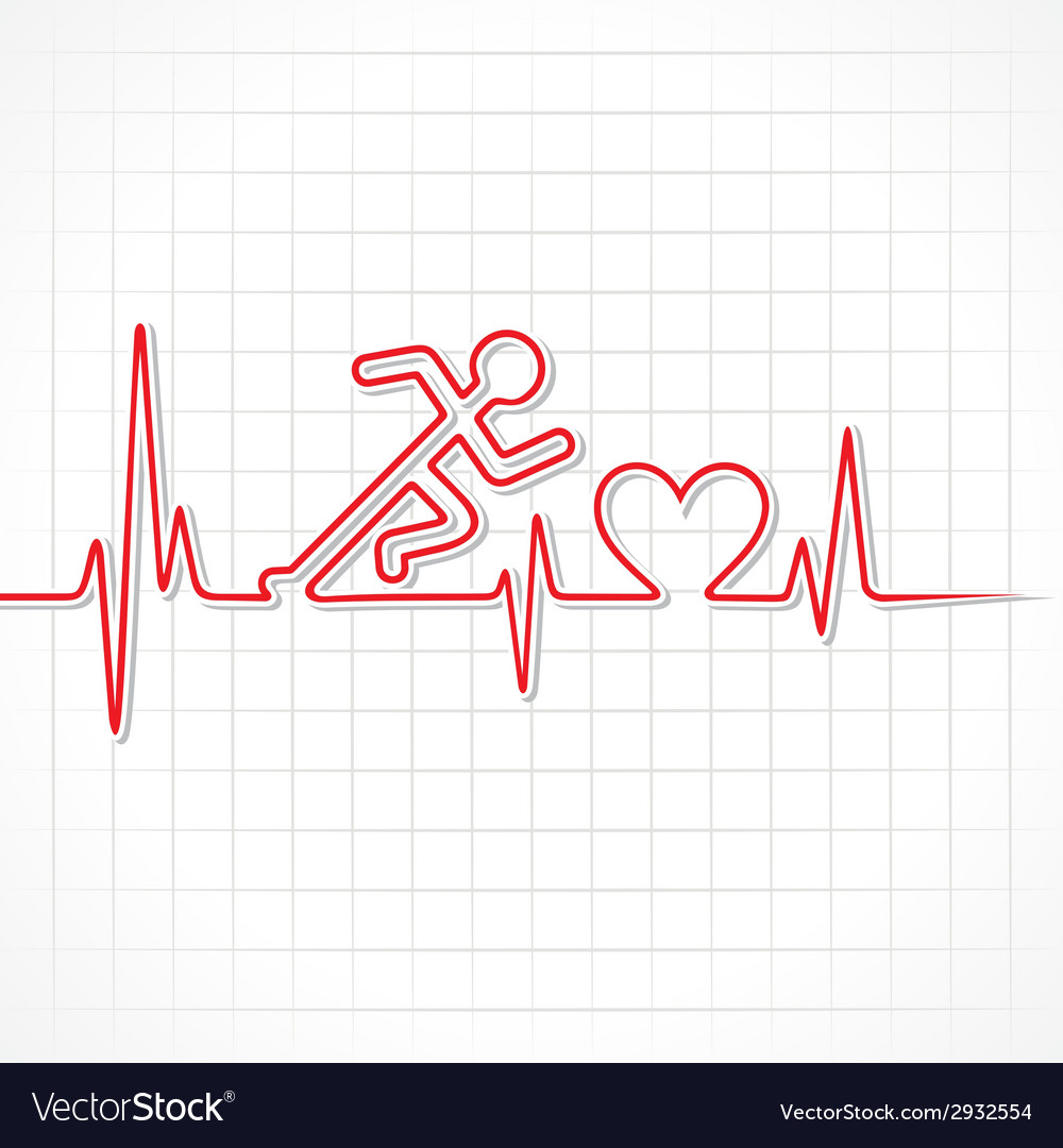 Heartbeat make running man symbol vector | Price: 1 Credit (USD $1)