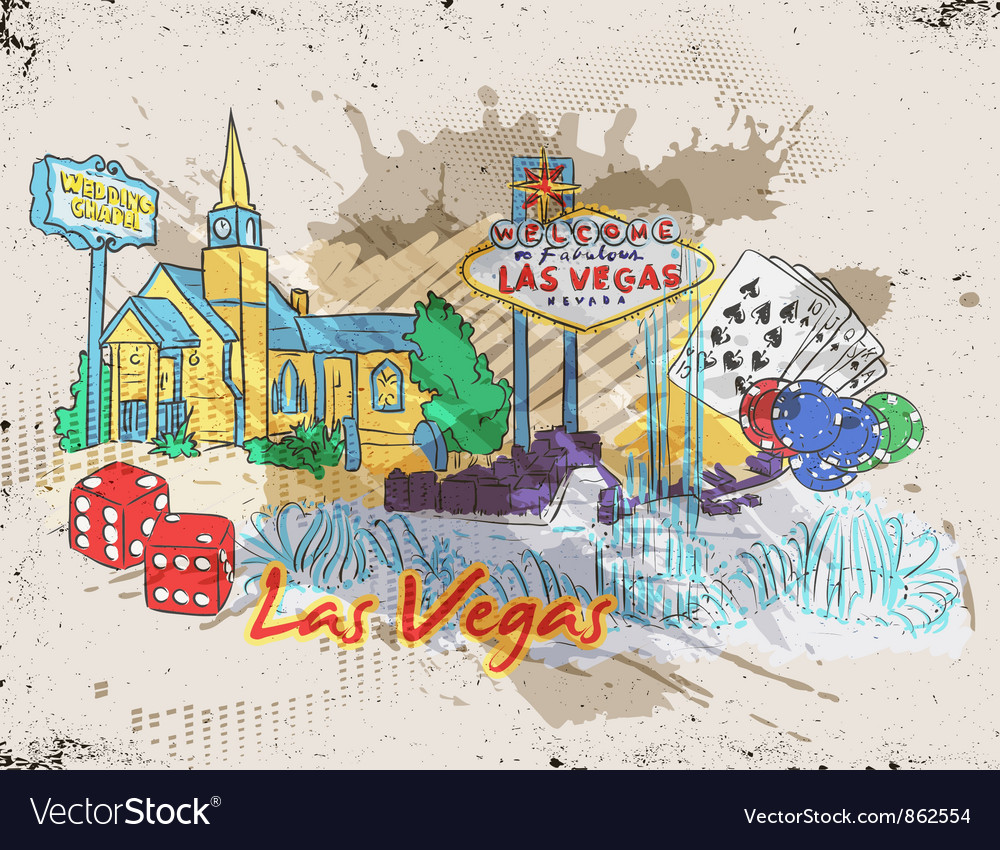 Las vegas doodles vector | Price: 3 Credit (USD $3)