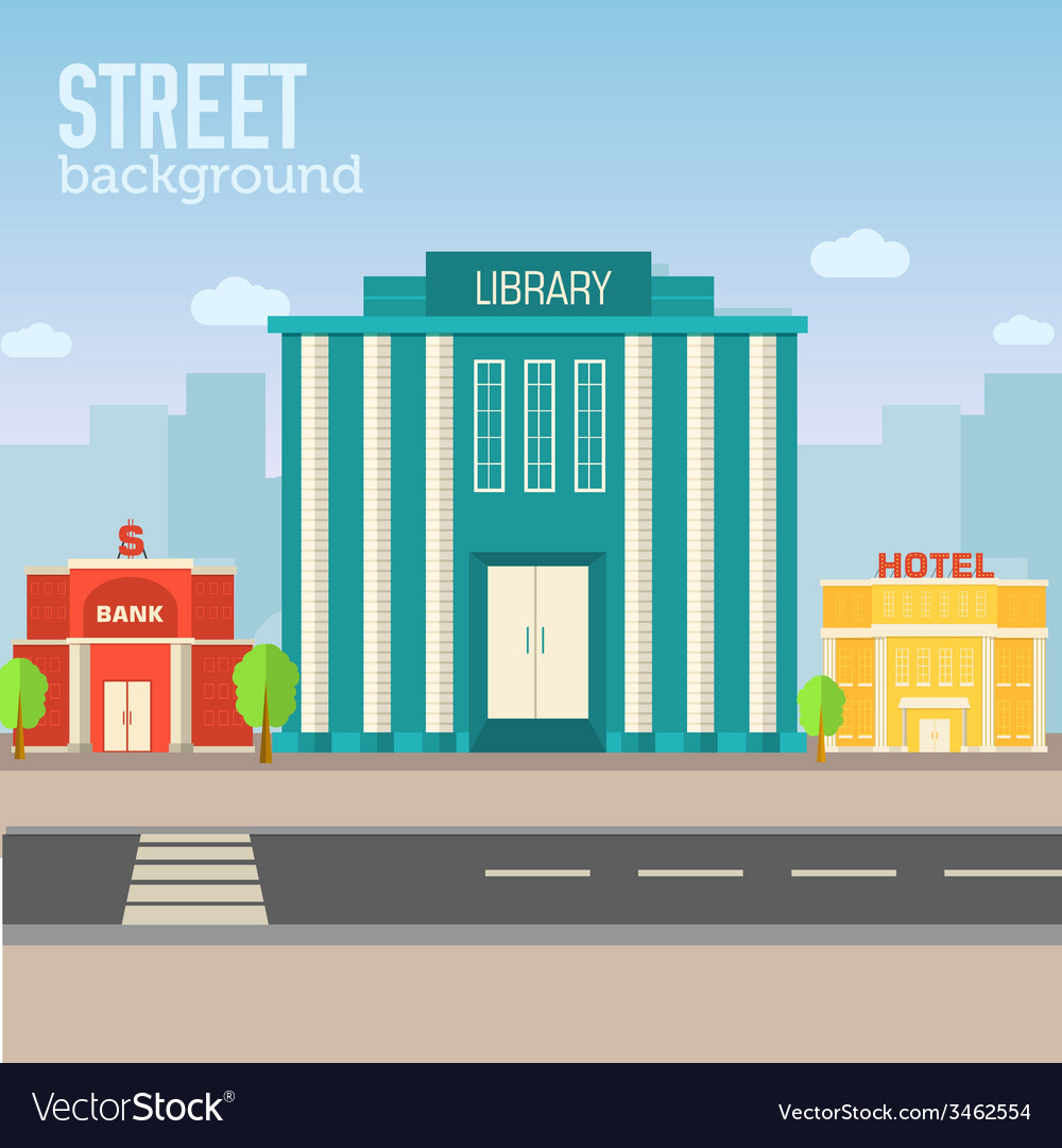 Library building in city space with road on flat vector | Price: 1 Credit (USD $1)