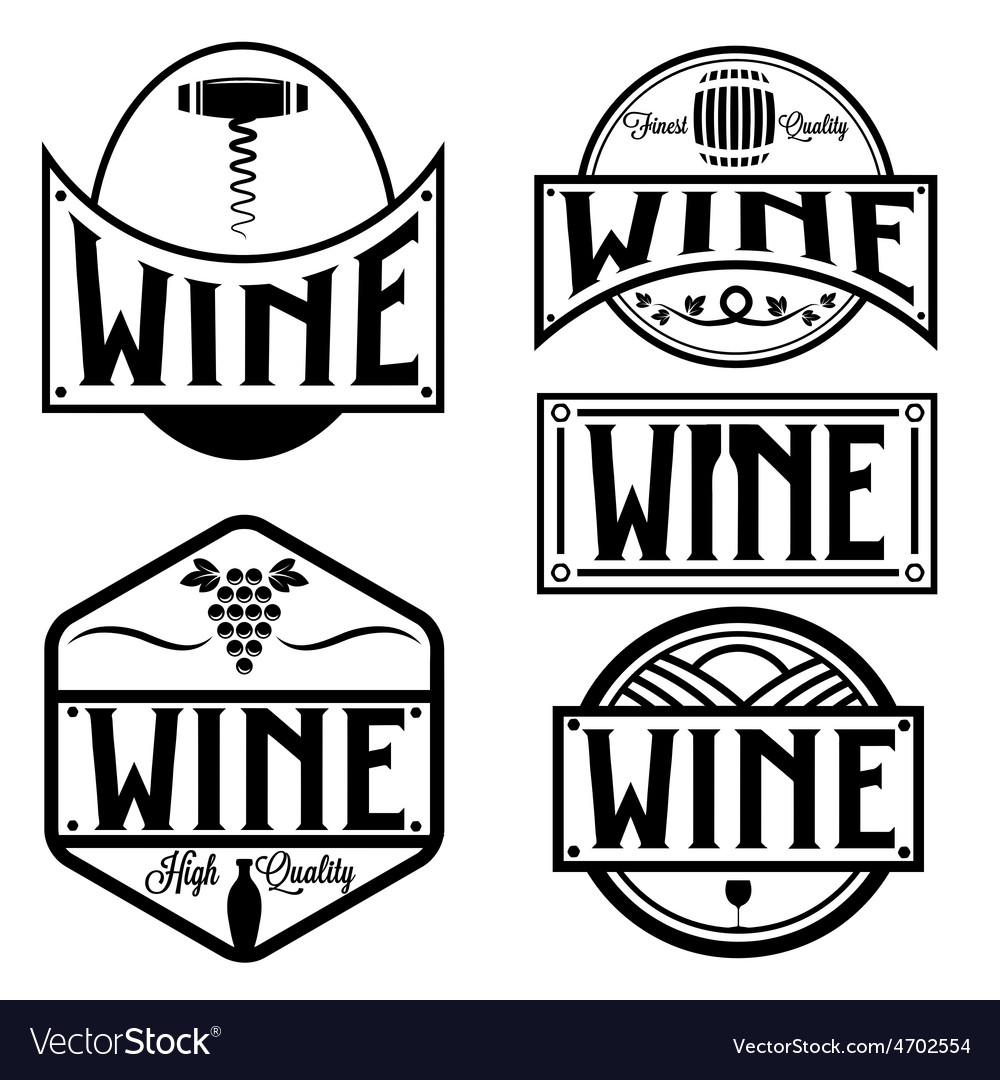 Vintage labels and design elements of wine vector | Price: 1 Credit (USD $1)
