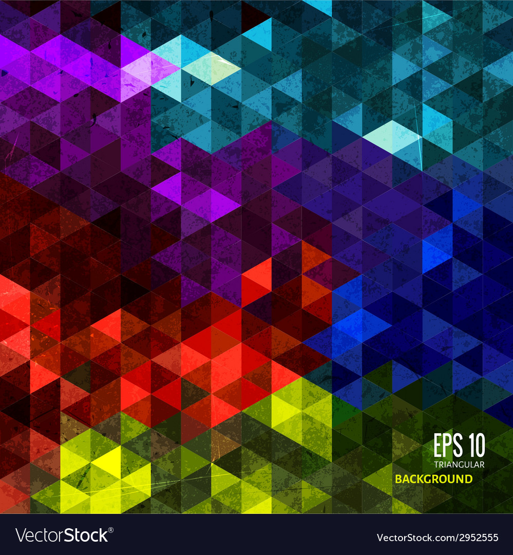 Abstract triangular background on bright colors vector | Price: 1 Credit (USD $1)