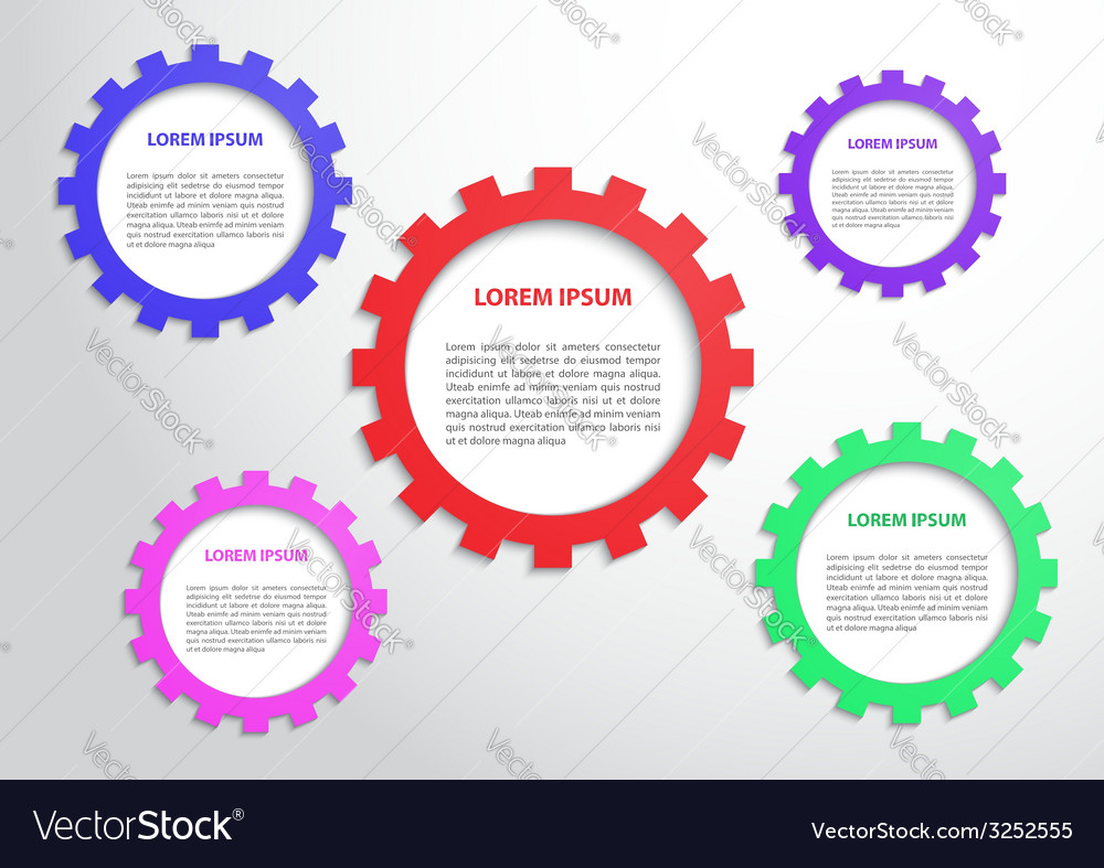 Color gears infographics background vector | Price: 1 Credit (USD $1)