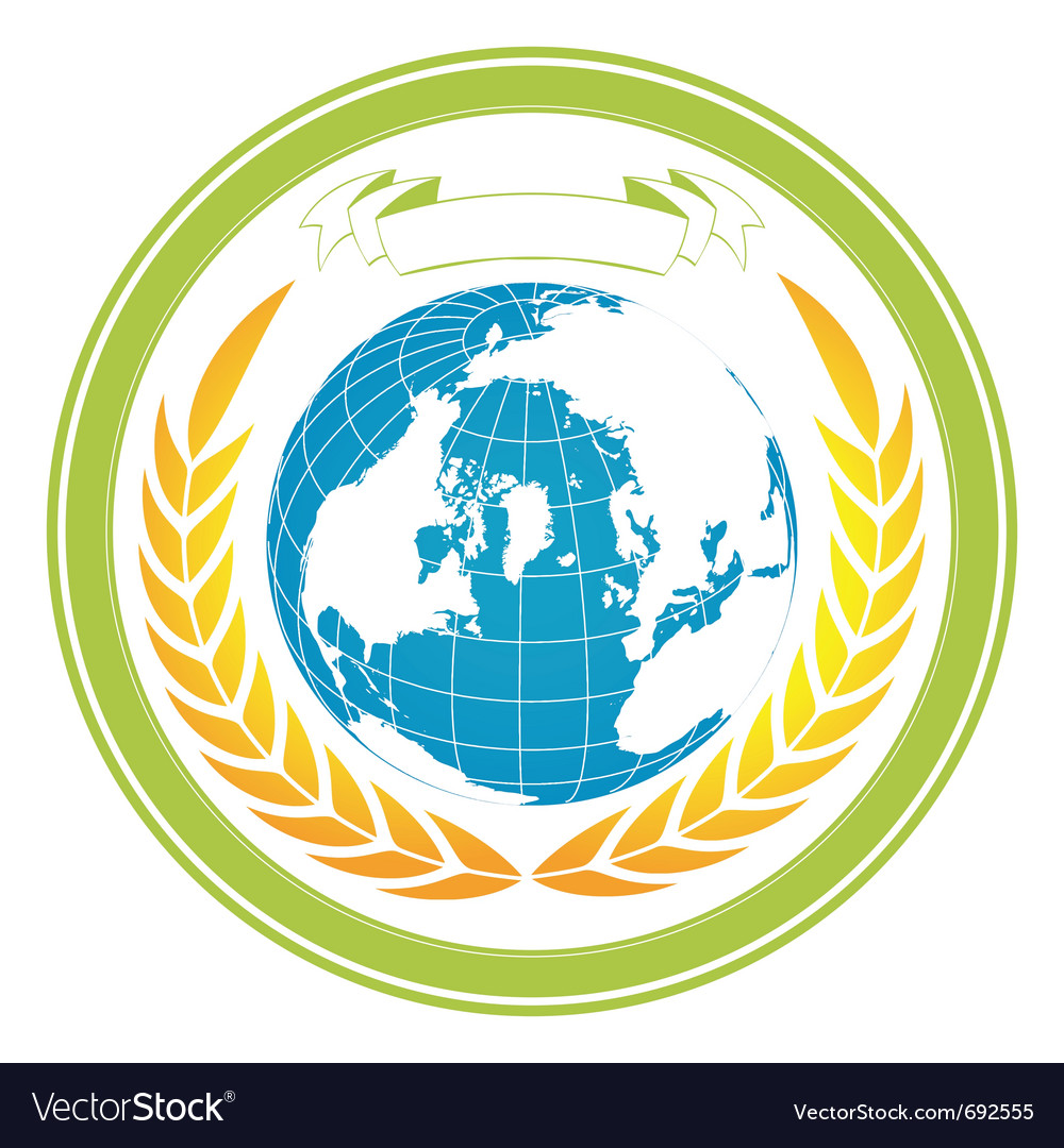 Earth globe stamp vector | Price: 1 Credit (USD $1)