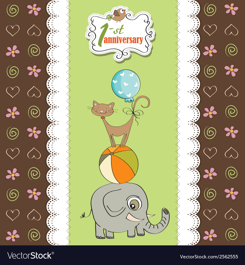 First anniversary card with pyramid of animals vector | Price: 1 Credit (USD $1)