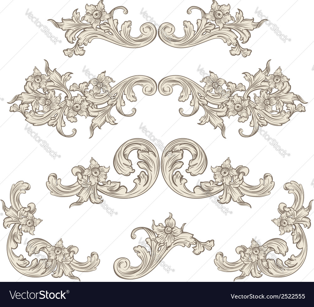 Set of calligraphic elements vintage baroque vector | Price: 1 Credit (USD $1)