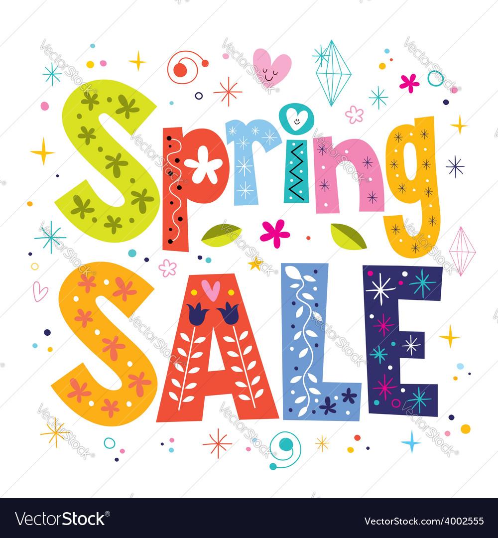 Spring sale decorative lettering type design vector | Price: 1 Credit (USD $1)