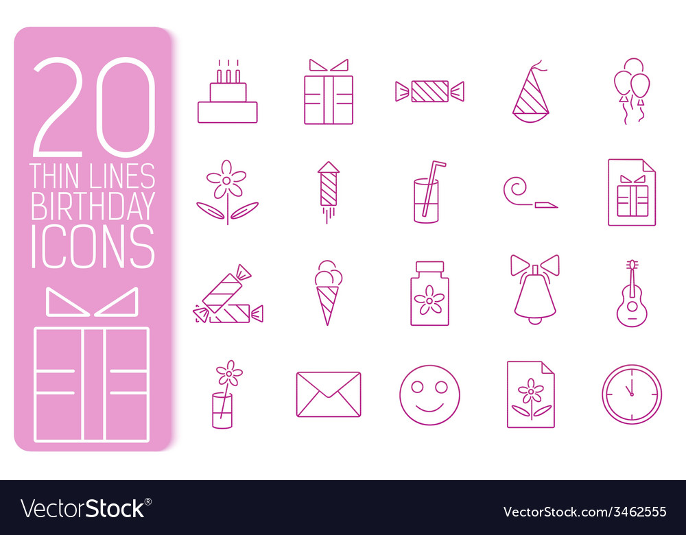 Thin line happy birthday icons set concept vector | Price: 1 Credit (USD $1)
