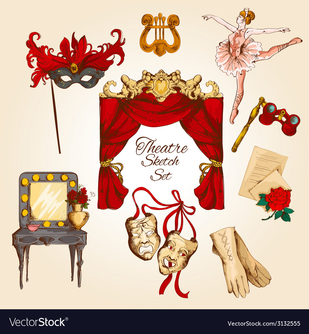 Theatre sketch set vector | Price: 1 Credit (USD $1)