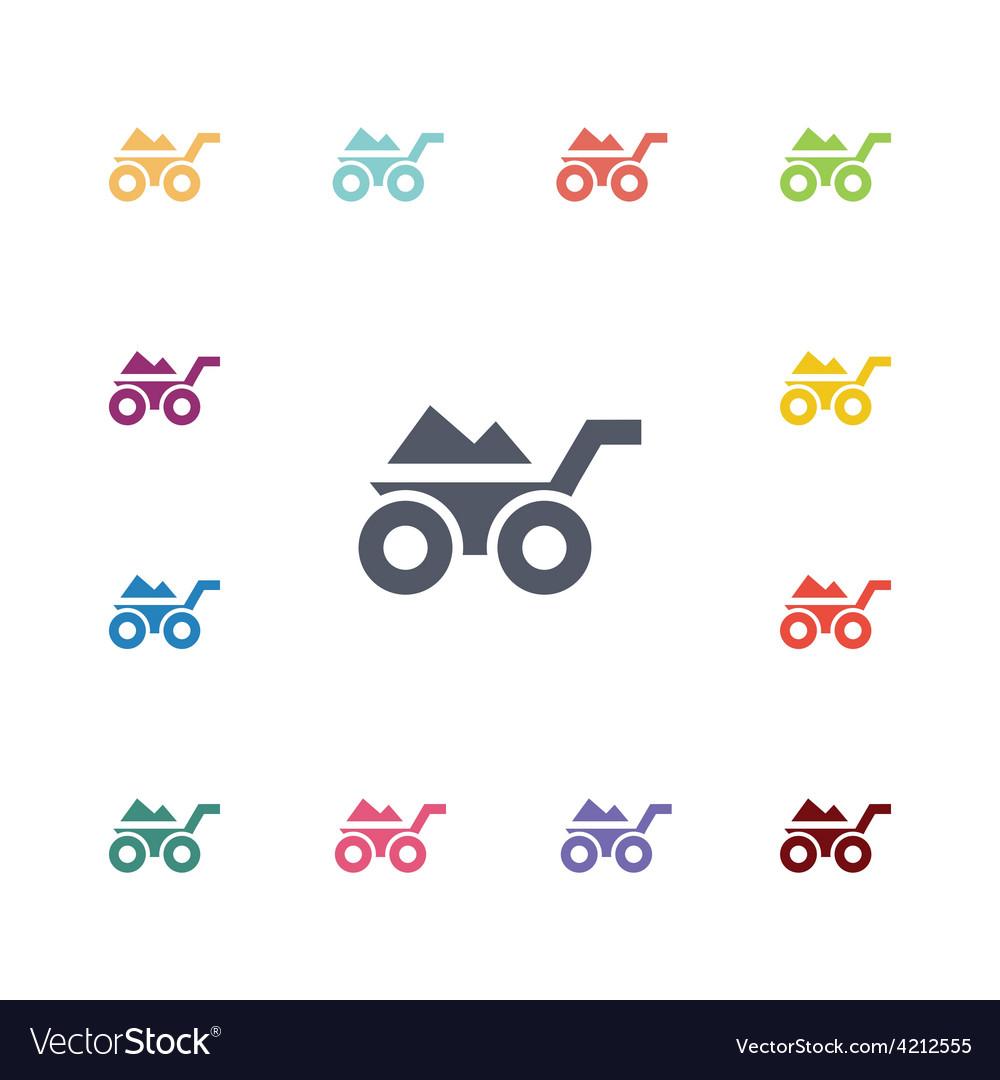 Wheelbarrow flat icons set vector | Price: 1 Credit (USD $1)