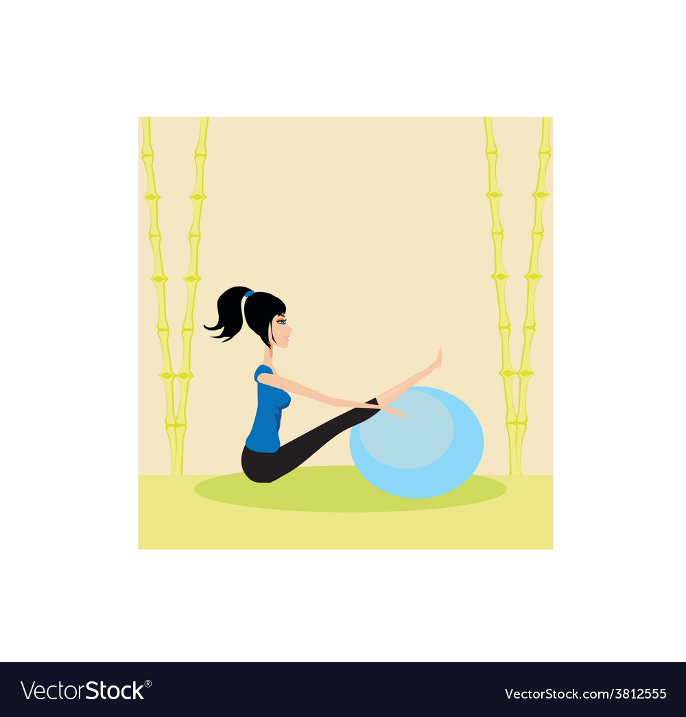 Woman with fitness ball - pilates vector | Price: 1 Credit (USD $1)
