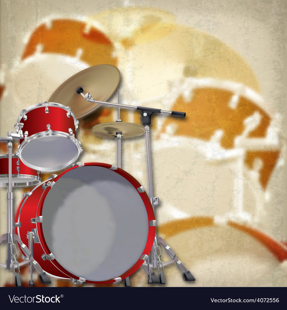 Abstract grunge background with red drum kit on vector | Price: 1 Credit (USD $1)