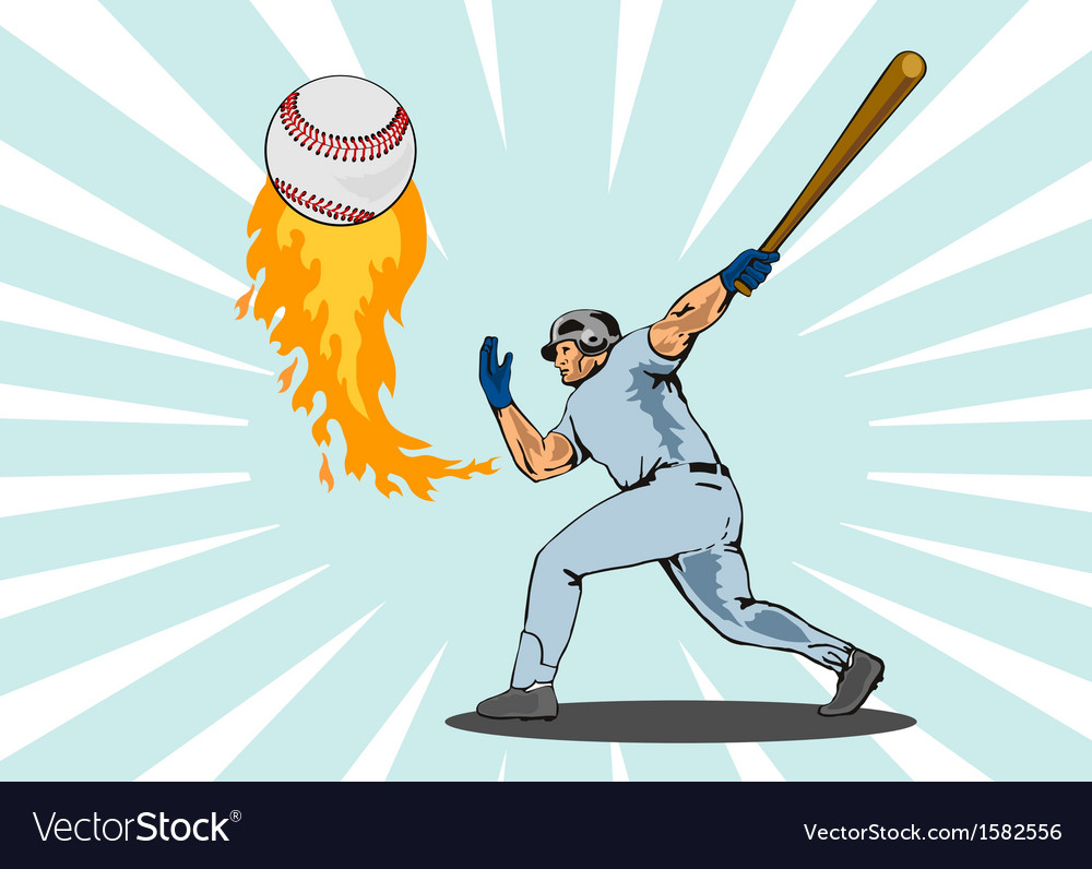 Baseball player batting ball flames vector | Price: 1 Credit (USD $1)