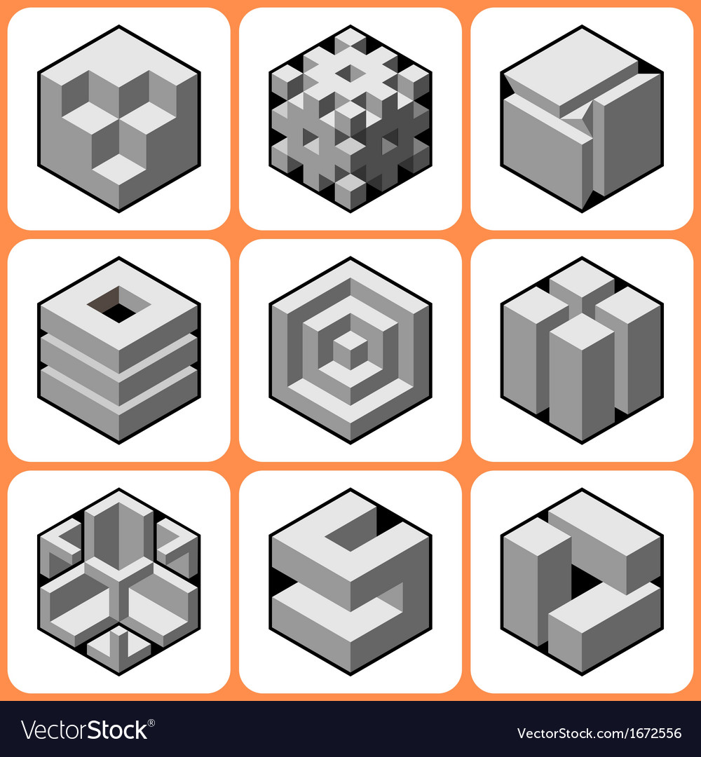 Cube icon set 4 vector | Price: 1 Credit (USD $1)