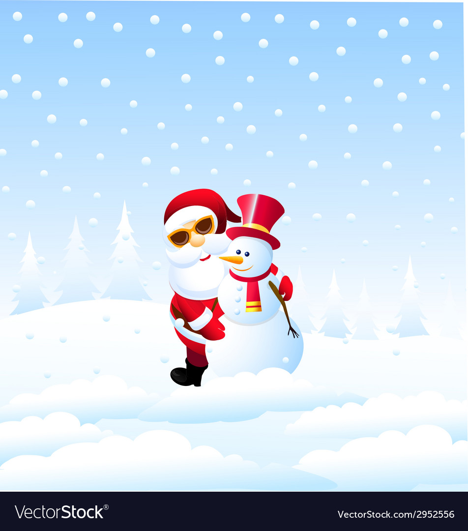 Happy christmas and santa with snowman vector | Price: 1 Credit (USD $1)