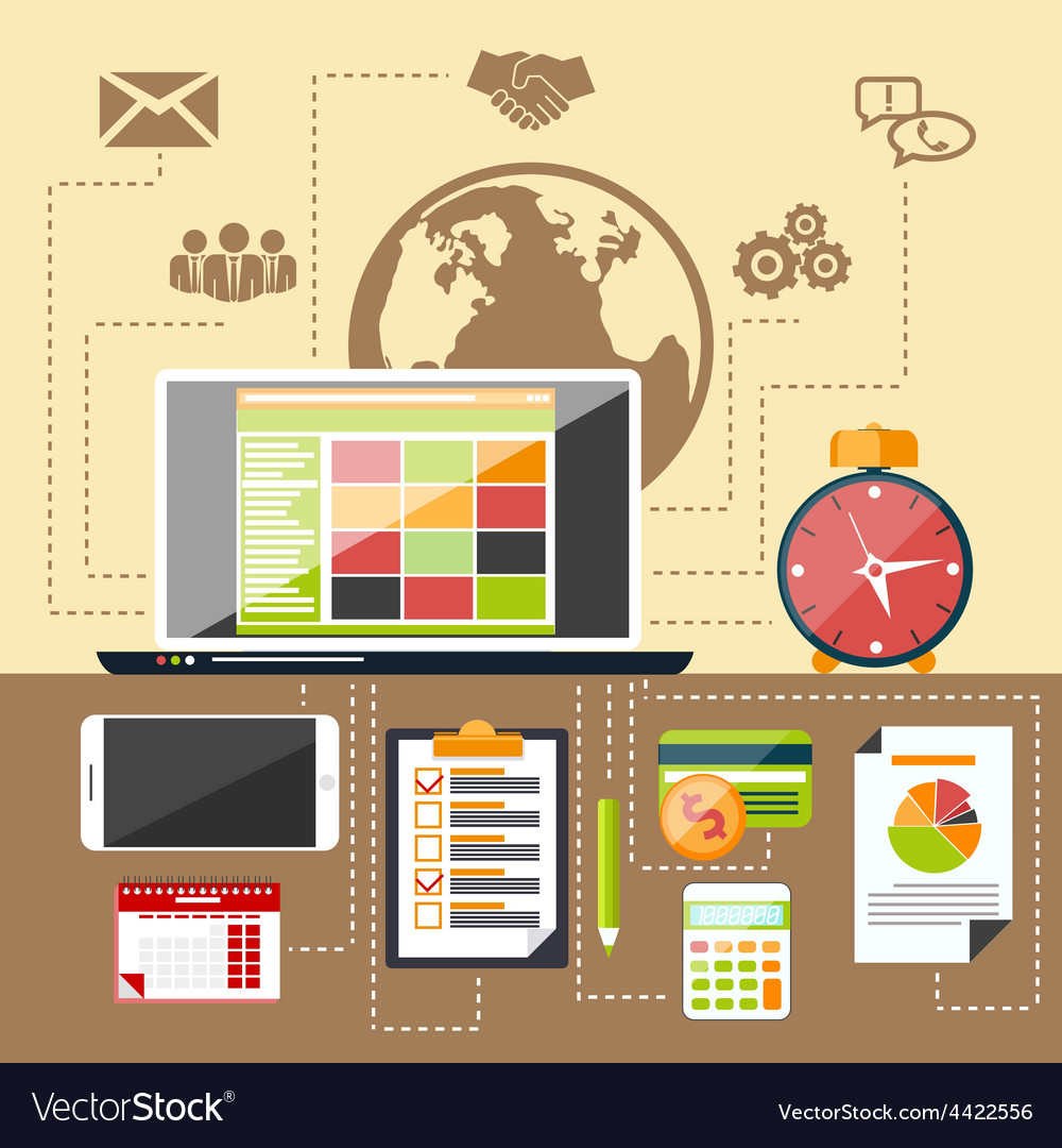 Management objects business and office items vector | Price: 1 Credit (USD $1)