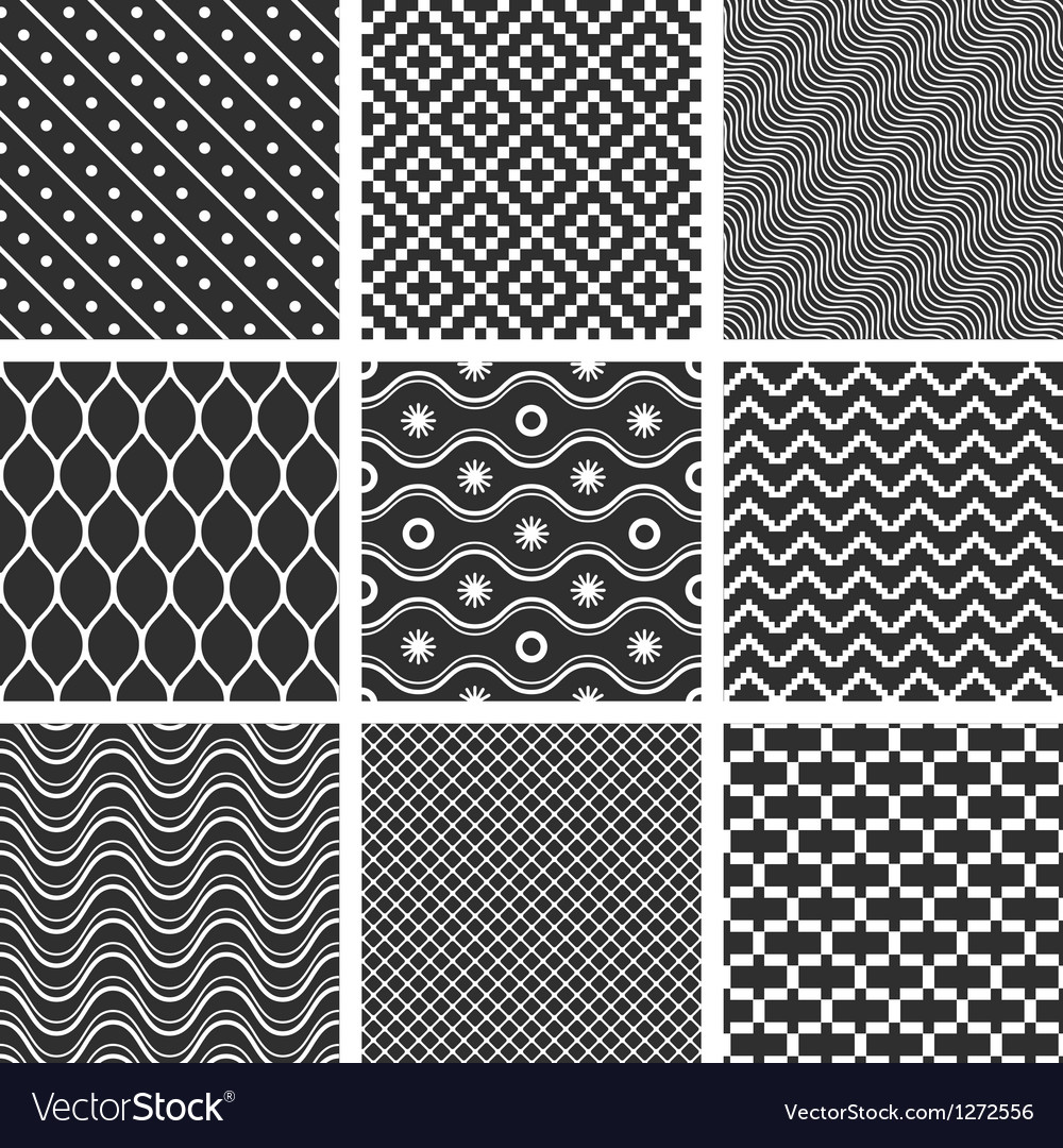 Monochrome geometric seamless textures vector | Price: 1 Credit (USD $1)