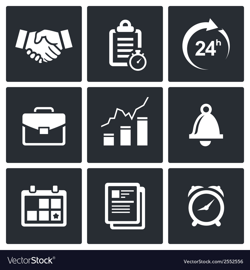 Office business icons set vector | Price: 1 Credit (USD $1)