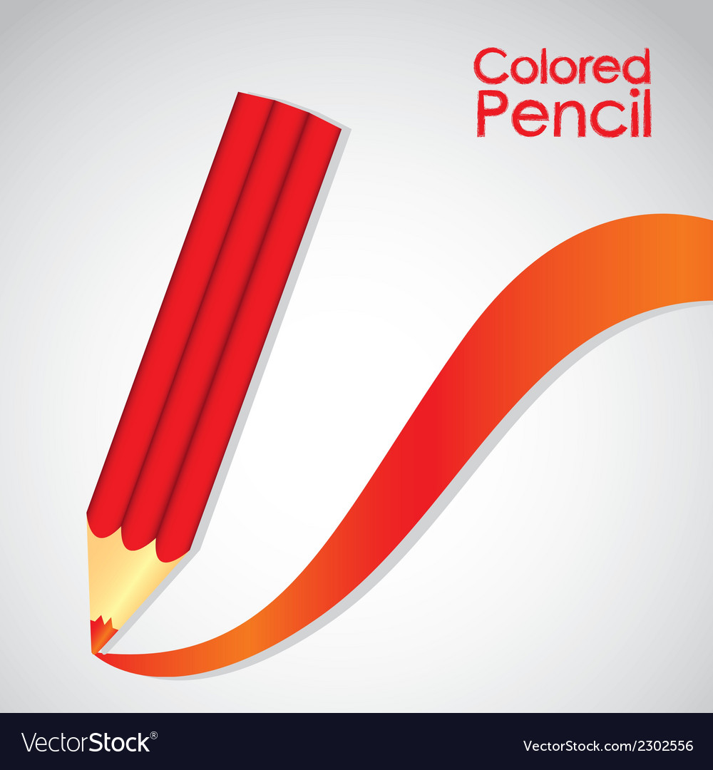 Red pencil with stripe red isolated on white backg vector | Price: 1 Credit (USD $1)