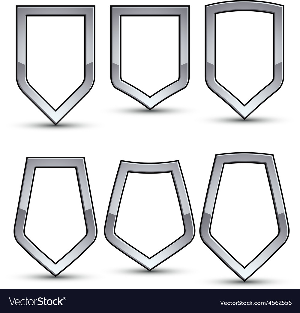Set of heraldic emblem with silver outline vector | Price: 1 Credit (USD $1)