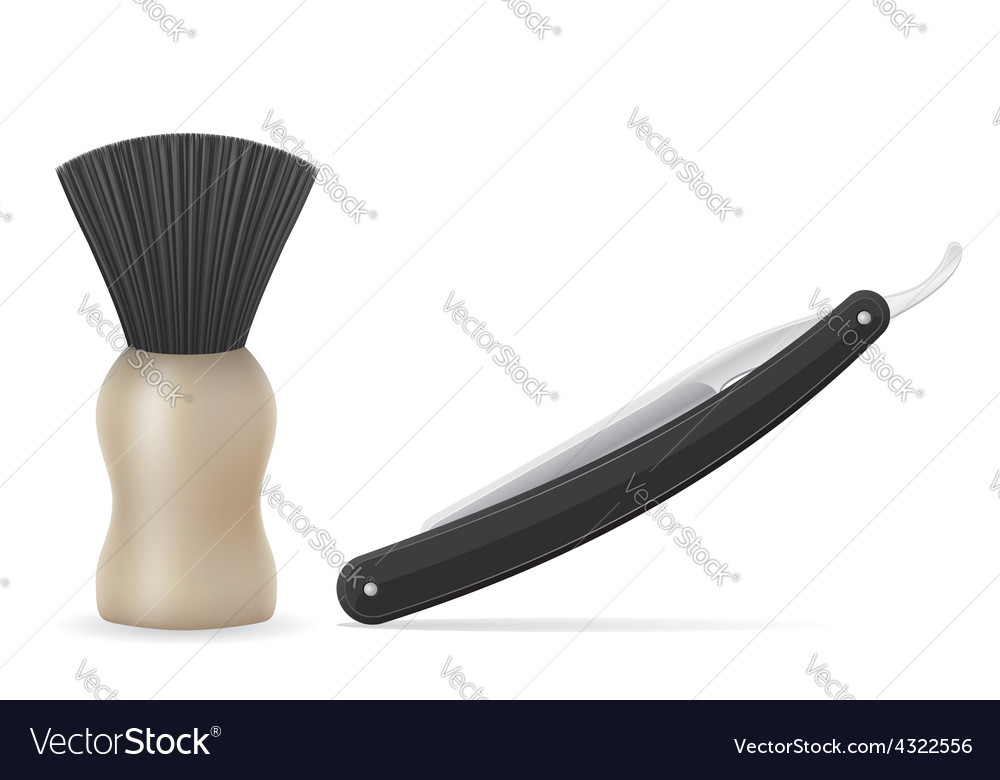 Straight razor and shaving brush vector   Price: 1 Credit (USD $1)