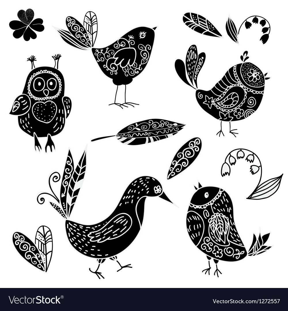 Black silhouettes bird and flower doodle set vector | Price: 1 Credit (USD $1)