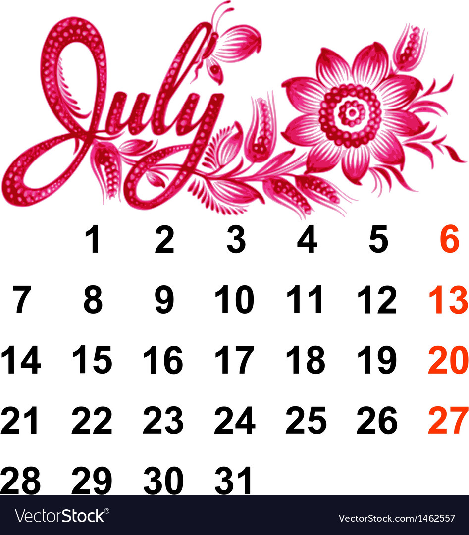 Calendar july 2014 vector | Price: 1 Credit (USD $1)