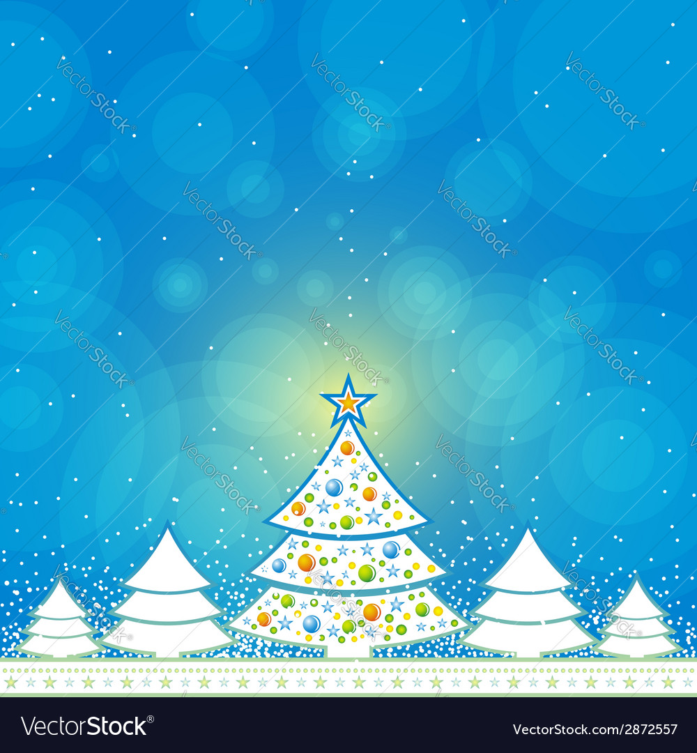 Christmas card with forest of pine vector | Price: 1 Credit (USD $1)