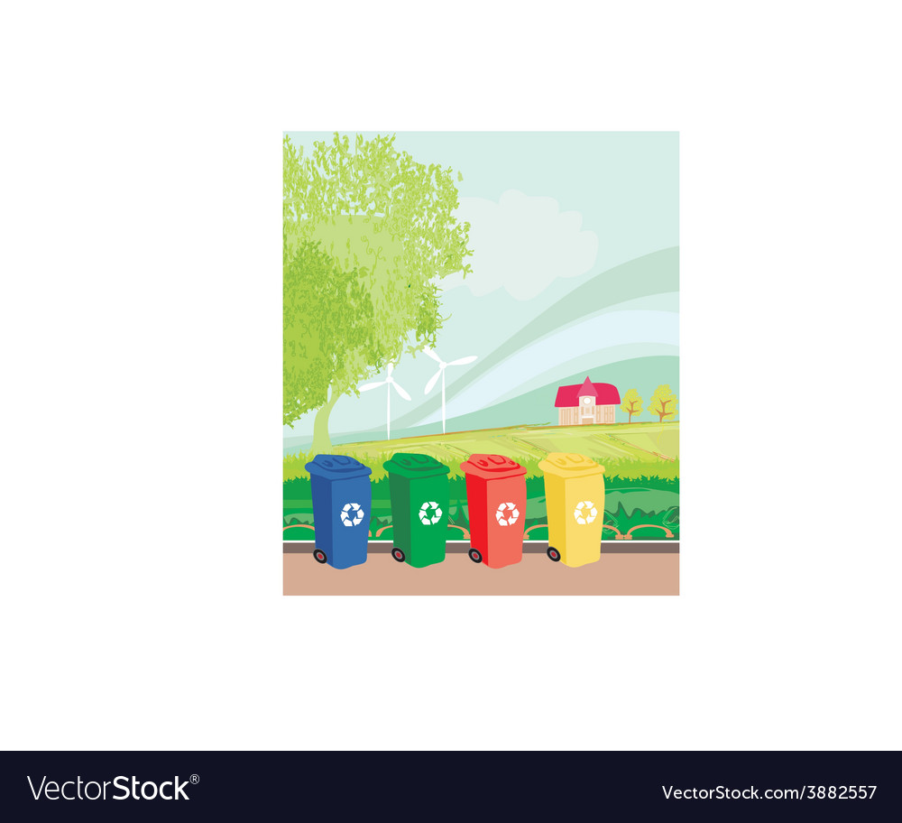 Colorful recycle bins ecology concept with vector | Price: 1 Credit (USD $1)