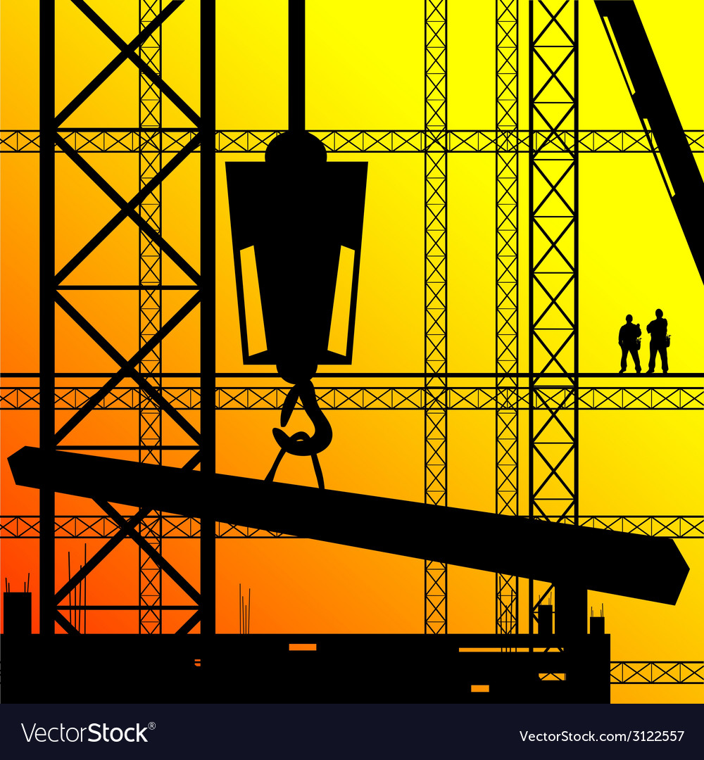 Construction worker supervise the work on sunshine vector | Price: 1 Credit (USD $1)