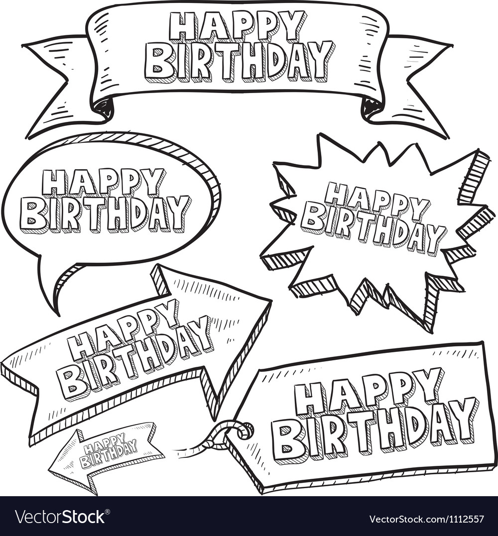 Doodle label tag banner happy birthday vector | Price: 1 Credit (USD $1)