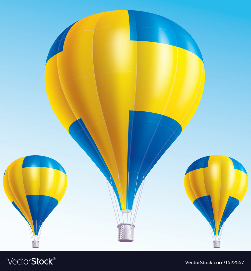 Hot balloons painted as swedish flag vector | Price: 3 Credit (USD $3)