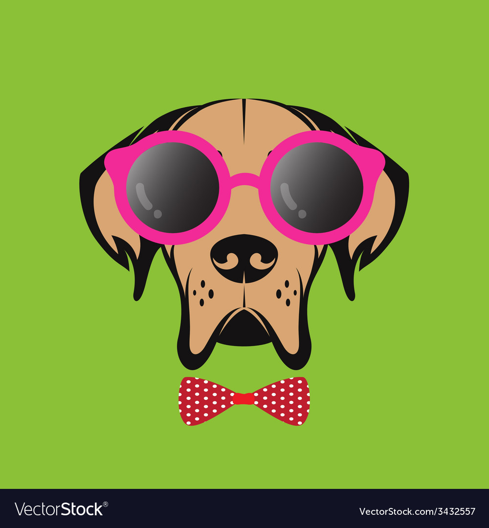 Images of a dog wearing glasses vector | Price: 1 Credit (USD $1)