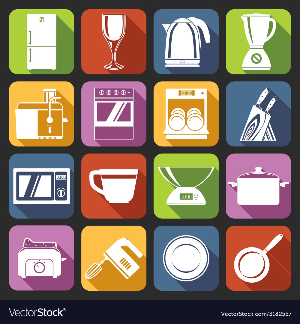 Kitchen appliances icons white vector | Price: 1 Credit (USD $1)