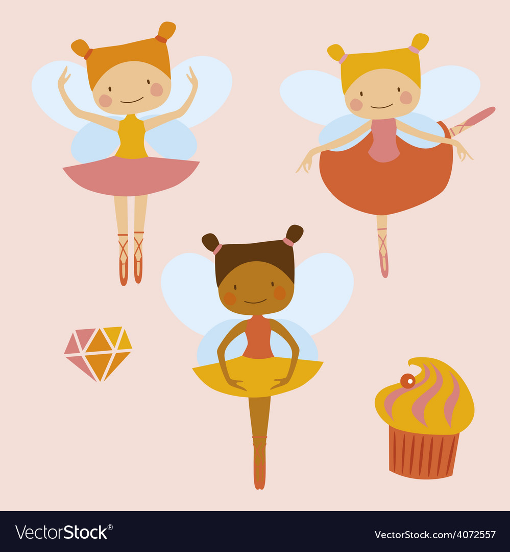 Little ballerinas fairies vector | Price: 1 Credit (USD $1)