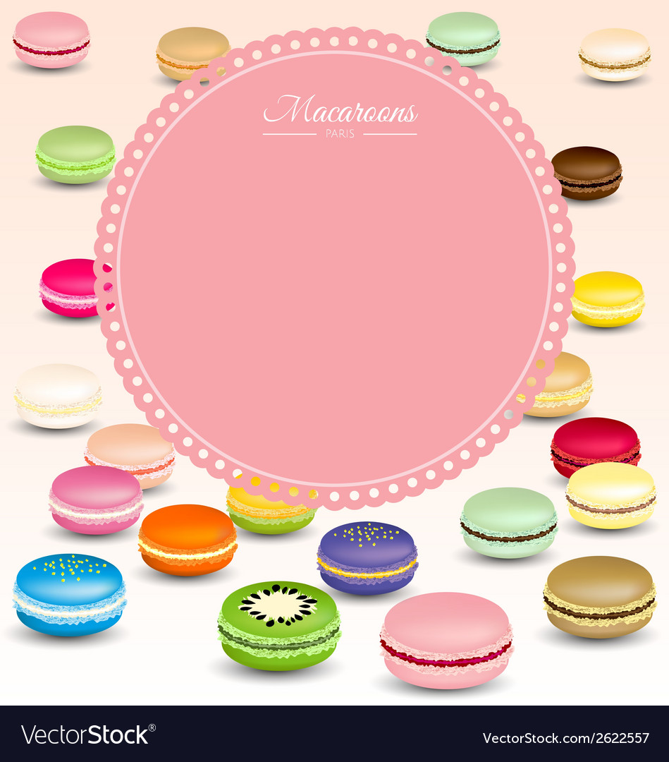Macaroons background and sweet pink frame vector | Price: 1 Credit (USD $1)