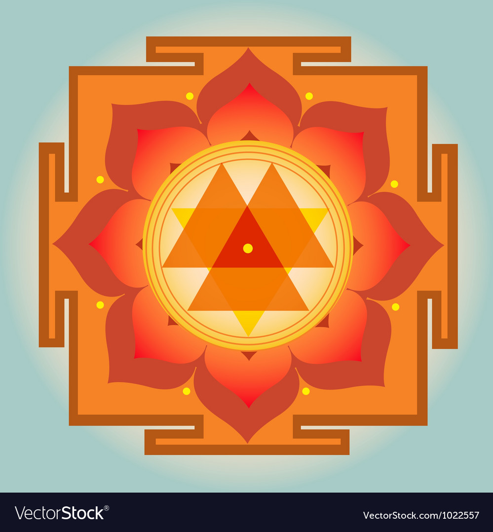Sacred geometry orange durga yantra vector | Price: 1 Credit (USD $1)