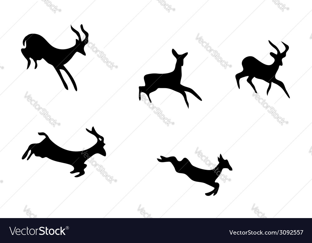 Set - silhouettes of mountain goats vector | Price: 1 Credit (USD $1)