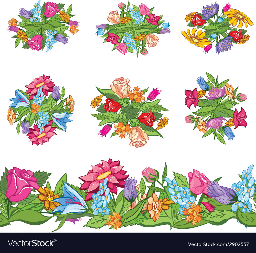 Set of floral designs and seamless border vector | Price: 1 Credit (USD $1)