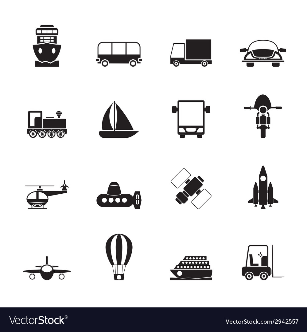 Silhouette transportation and shipment icons vector | Price: 1 Credit (USD $1)