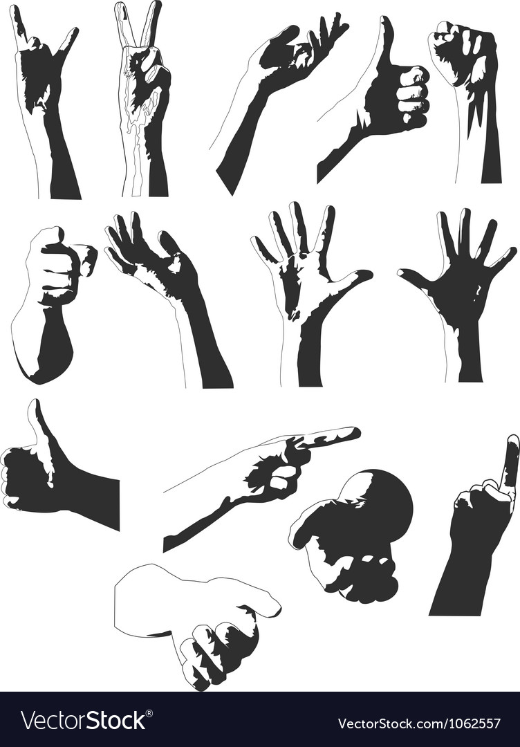 Silhouettes of hands vector | Price: 1 Credit (USD $1)